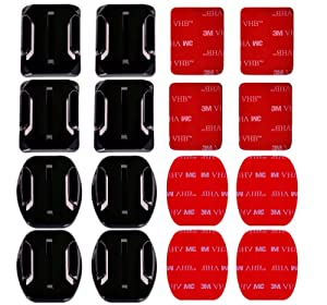 AxPower 16 PCS Helmet 3M Adhesive Pads Sticker Flat Curved Mounts Accessories kit for GoPro Hero 7 6 5 4 3+ 3