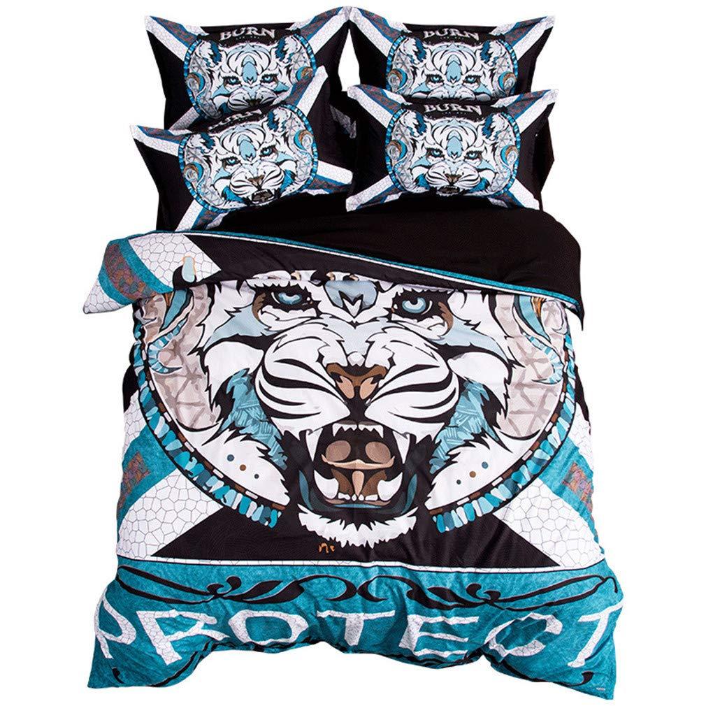 3/4個タイガートーテム寝具セット3Dエンボス加工ブルー羽毛カバーセットシート(枕カバー付き)ポリエステル寝具用ホームテキスタイルフルサイズ,King(6feet) B07L1LSX9R King(6feet)