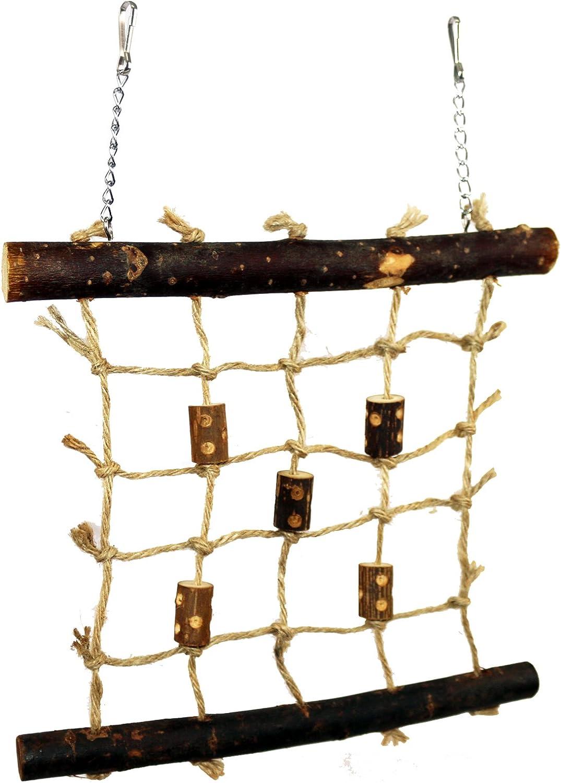 Pet Ting Cuerda de Madera Natural para Mascotas, 27 x 24 cm, Juguete para pájaros, diseño de Budgie Canario, etc.