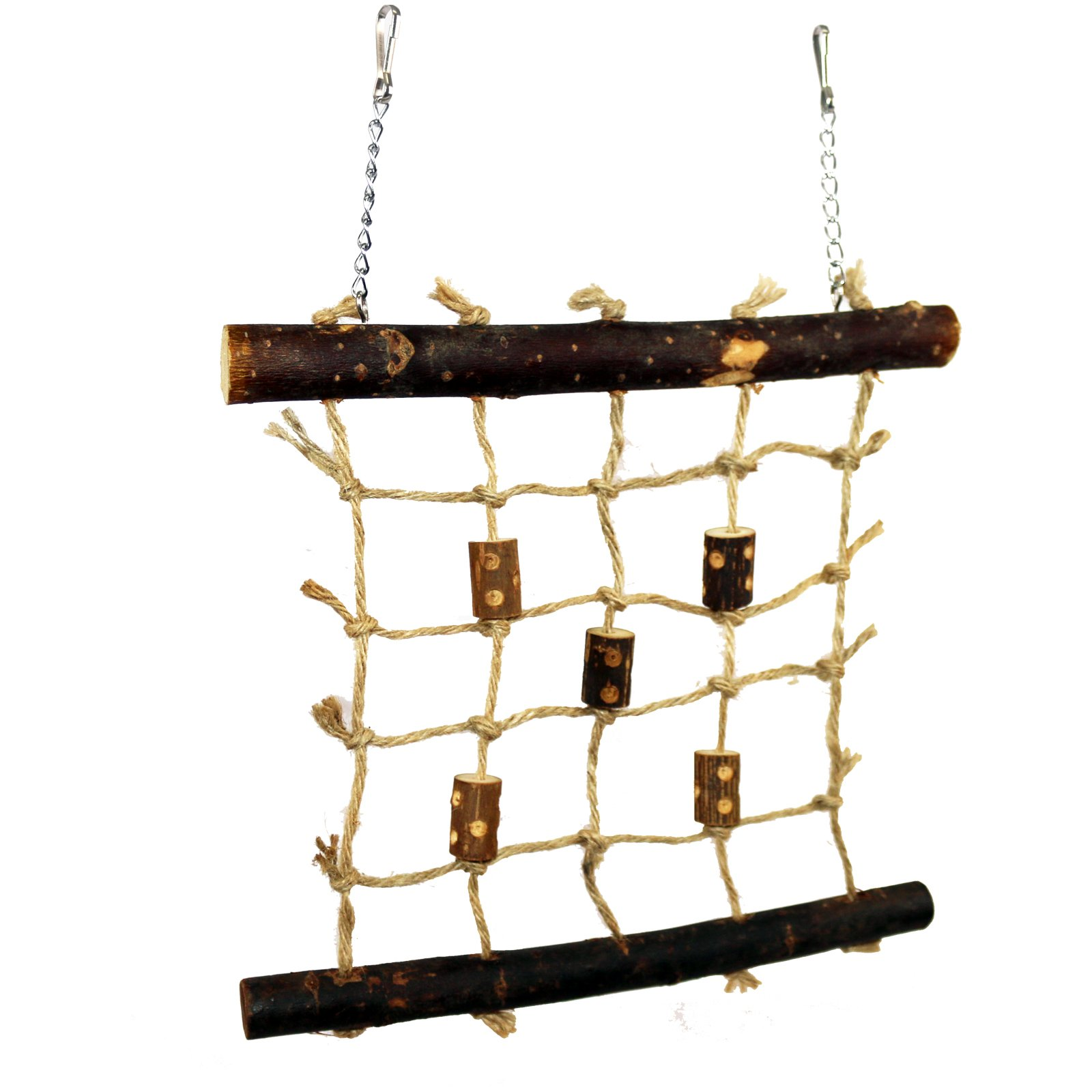 Pet Ting Natural Living Rope Climbing Wall 27 x 24cm - Bird Toy Wall Wooden - Finch Canary Budgie Etc