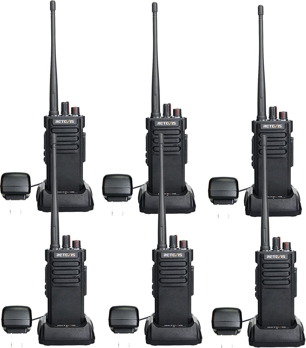 Retevis RT29 2 Way Radios Walkie Talkies Long Range High Power Heavy Duty Long Distance Two Way Radios Rechargeable with VOX Alarm(6 Pack)