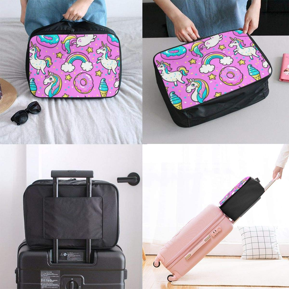 Nylon Lightweight Tote Luggage Bag Water Resistant Luggage Hanging Bag Vacation Travel Duffle Bag Weekender Bag In Trolley Handle Cute Unicorn Narwhal Pattern Blue Overnight Bag