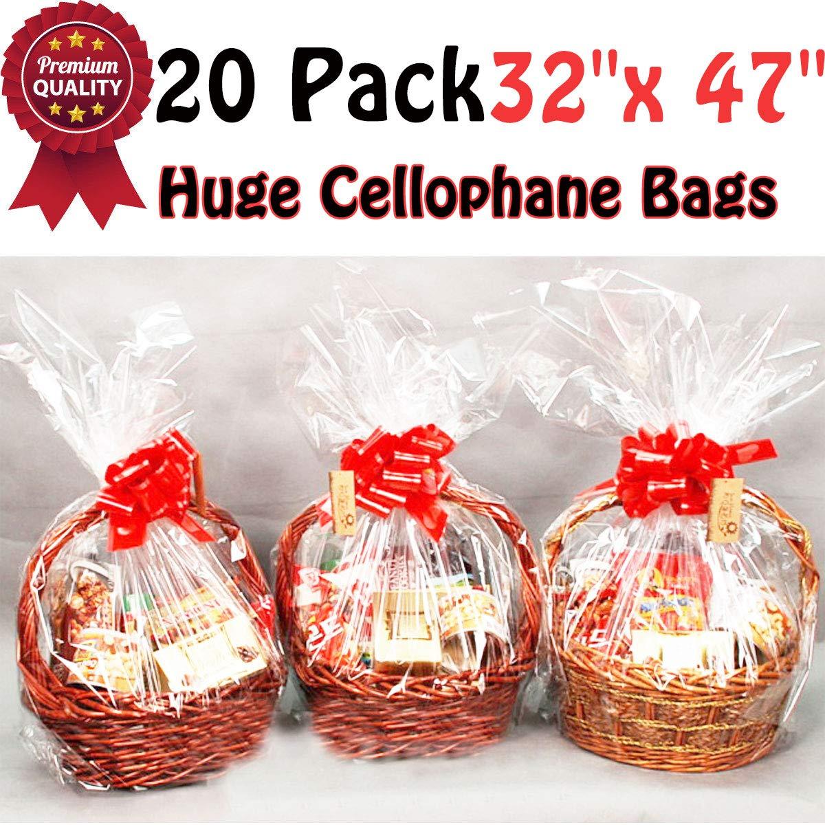 Amazon.com: Paquete de 20 bolsas transparentes para cesta ...