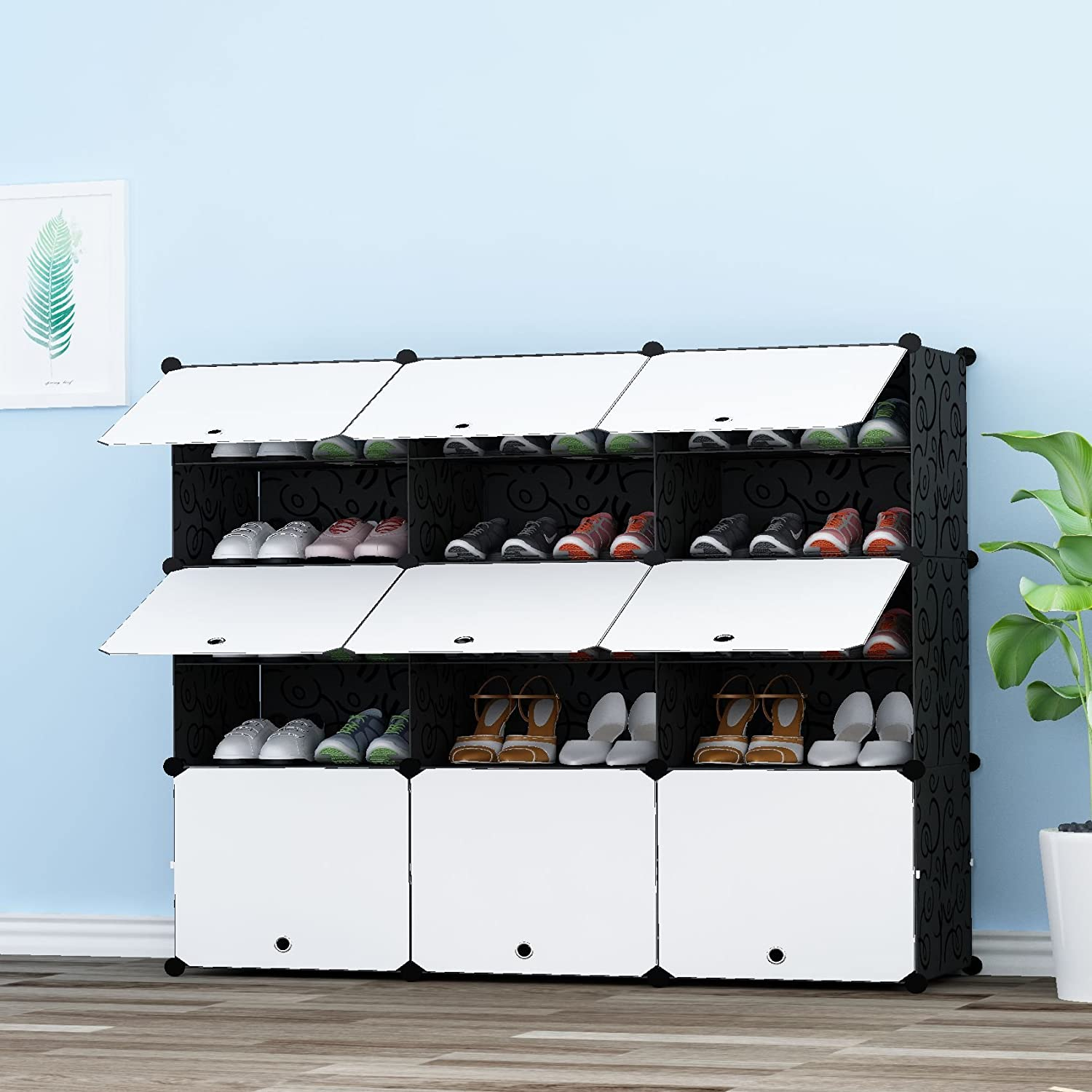 Slippers Boots Shoe Rack Ideal for Shoes JOISCOPE Portable Shoe Storage Organzier Tower Modular Cabinet for Space Saving 2//5,White with Transparent Doors /…