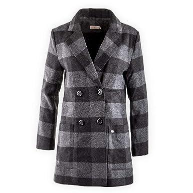 Manteau gris a carreaux femme