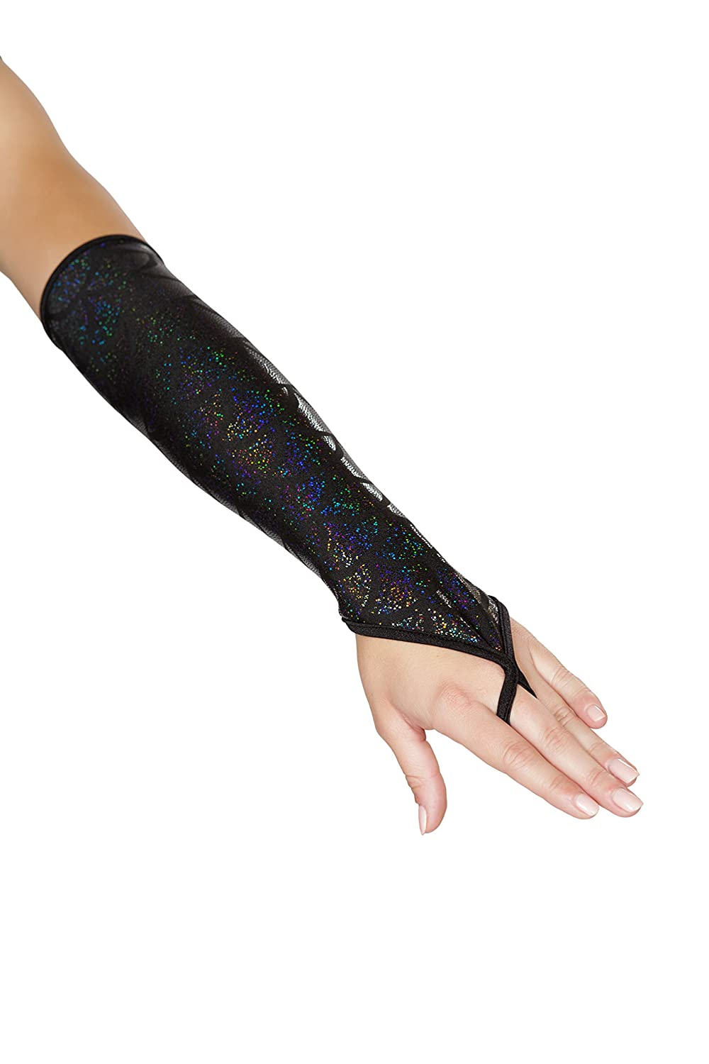 Iridescent Black Mermaid Fingerless Elbow Length Gloves - DeluxeAdultCostumes.com