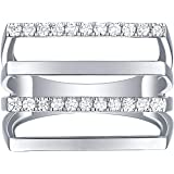 Lab Grown Diamond Multi Row Ring for Women, 1/3 Ctw 10K White Gold by Smiling Rocks