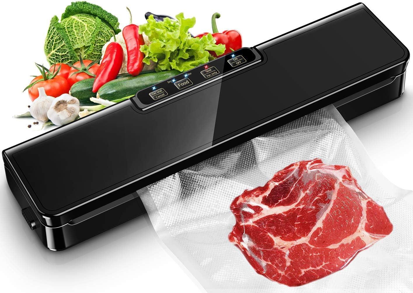 Vacuum Sealer Machine, Automatic Food Sealer For Food savers vacuum sealer| Starter Kit|Dry & Moist Food Modes| Compact | Easy to Clean | Led Indicator Lights(15 vacuum sealing bags)