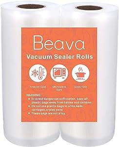 Vacuum Sealer Rolls, Beava 5 Inch x 16.4ft 2 Pack Vacuum Sealer Bags Embossed Food Saver Bags Heavy Duty Commercial Grade Vacuum Sealer Freezer Bags for Seal a Meal, Sous Vide or Meal Prep