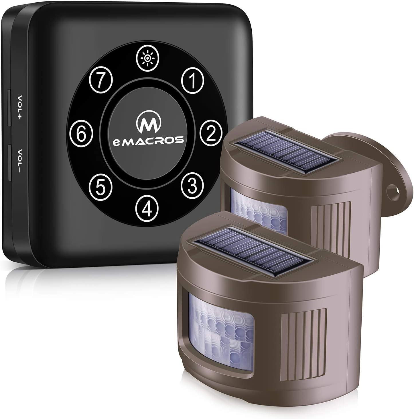 eMACROS Pairable 1/2 Mile Long Range Solar Wireless Driveway Alarm Indoor Outdoor Weatherproof Motion Sensor&Detector Security Alert System(2020 New Version)