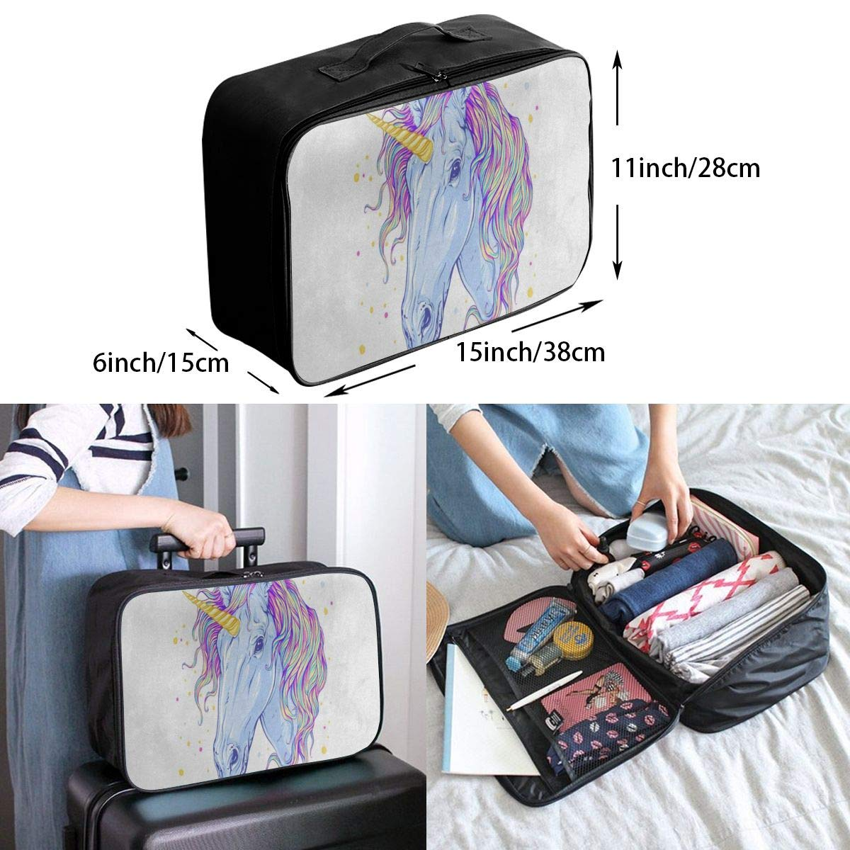 Luggage Bag Travel Duffel Bag Waterproof Watercolor Animal Unicorn Lightweight Large Capacity Portable Storage Bag