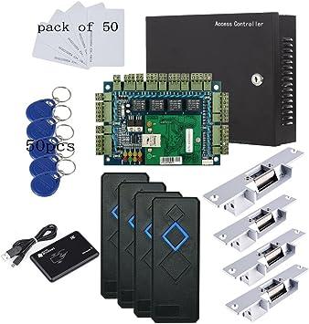 Wiegand 4 puertas entrada Control de acceso sistema de panel para eléctrico huelga NO Lock Enroll RFID lector USB caja de energía 110 V lector de RFID RFID llavero/tarjetas: Amazon.es: Bricolaje y