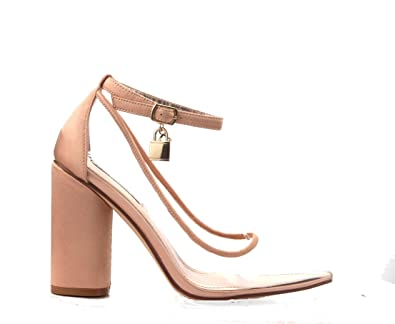 b074ce20d97 MICHELLE PARKER Cape Robbin Rizzo-1 Rose Gold Satin Pointed Lucite Clear  Block Heel Ankle