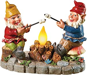 Collections Etc Solar Campfire Light Garden Gnomes with S'Mores Statue - Light-Up Yard Art
