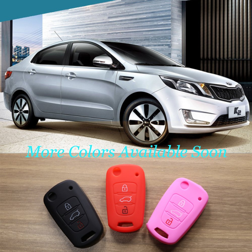 Mokie Silicone Remote Key Case Fob Cover 3 Button Remote Fob for KIA Sportage Soul Rio Optima Red