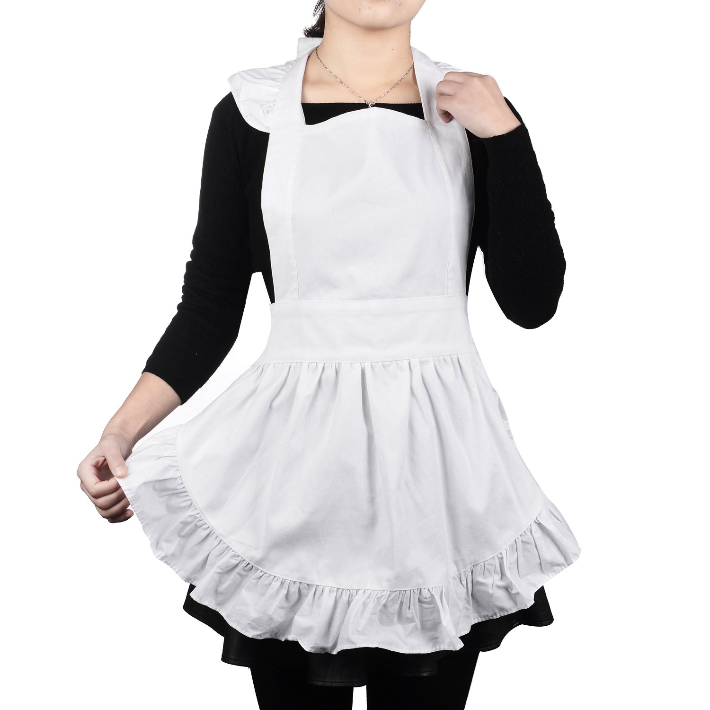TecUnite Cotton Apron Kitchen Restaurant Bib Cafe Waitress Apron for Women, White