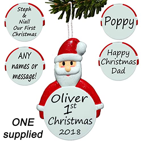 father christmas personalised tree decoration santa bauble first 1st ornament
