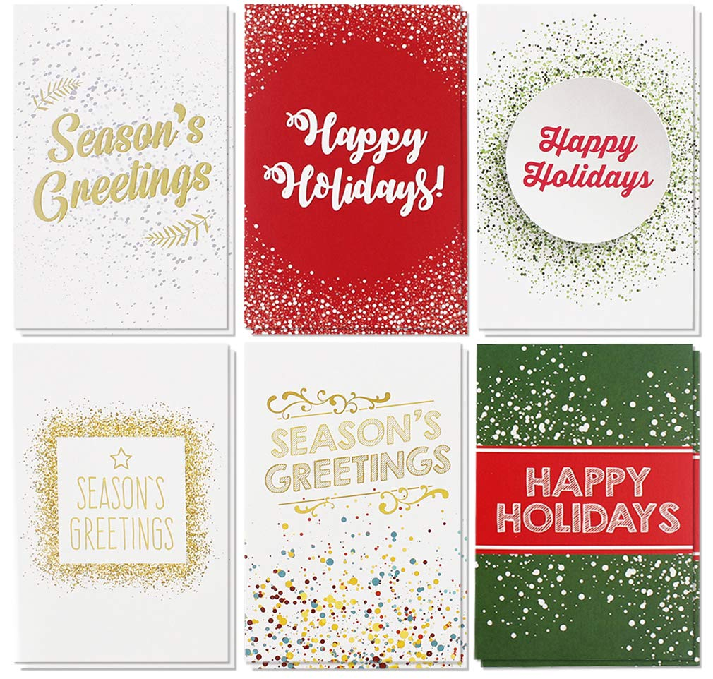 48-Pack Merry Christmas Greeting Cards Bulk Box Set - Winter Holiday ...