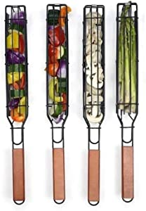 Kabob Grilling Baskets Set of 4, Outdoor BBQ Barbecue Grill Accessories for Vegetables, Shrimps, Meat and Hot Dog