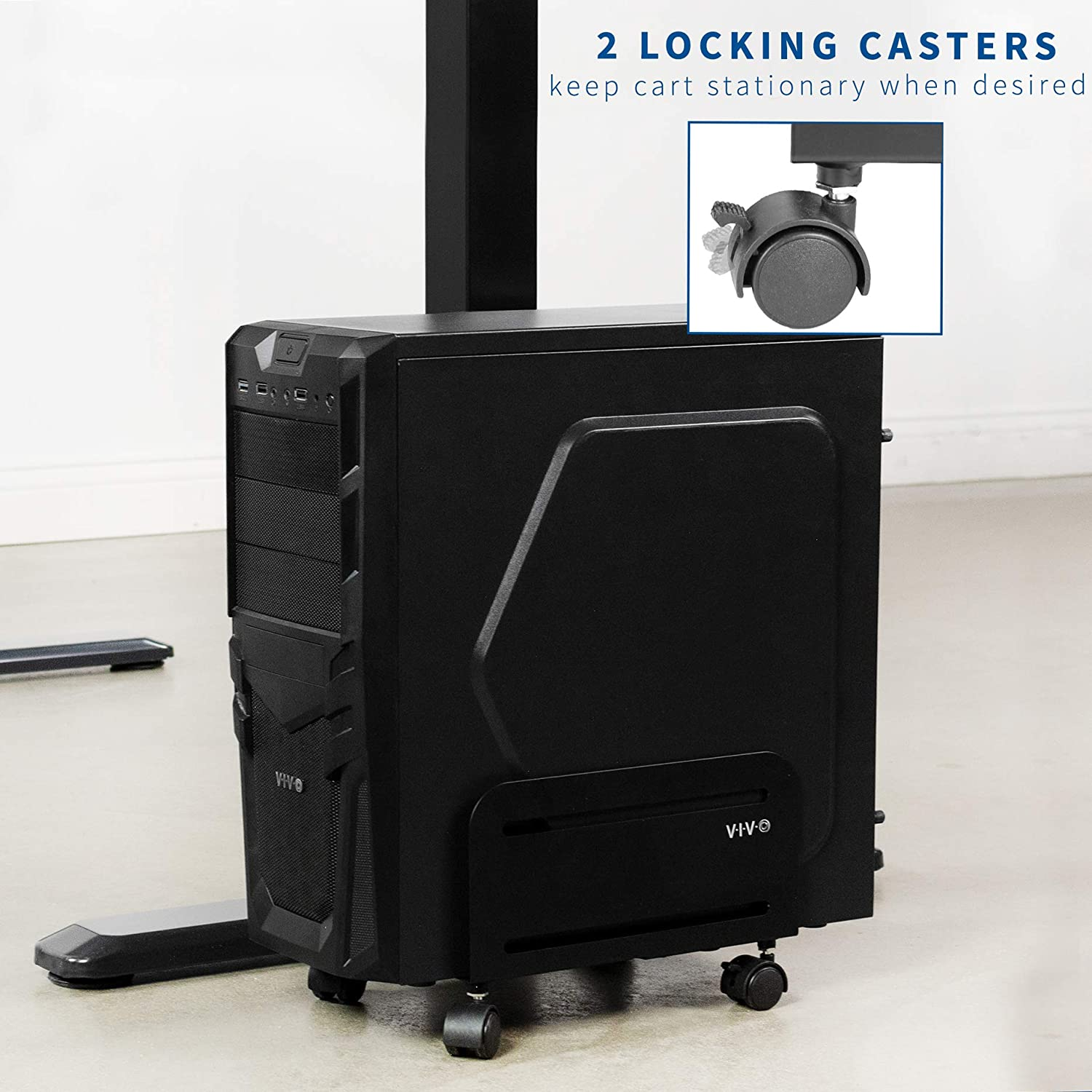 VIVO Black Computer Tower Desktop ATX-Case, CPU Steel Rolling Stand, Adjustable Mobile Cart Holder with Locking Caster Wheels (CART-PC01) : Office Products