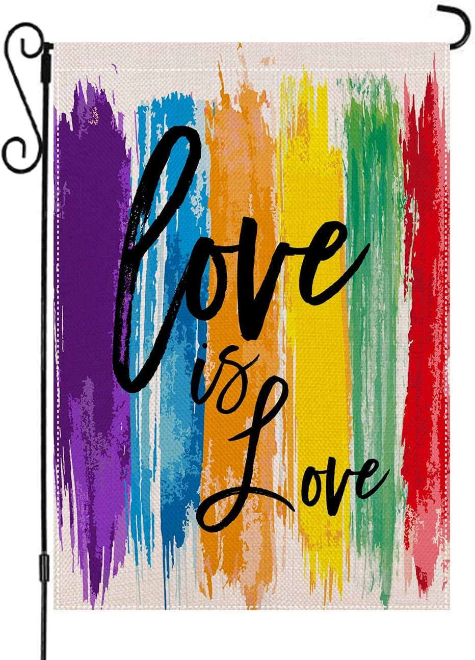 AUOIKK Love is Love Garden Flag Rainbow Garden Decoration Vertical Double Sided 12.5 x 18 Inch, Farmhouse Flag Pride Gay Pride Lesbian LGBT Yard Lawn banner Watercolor Outdoor Decoration