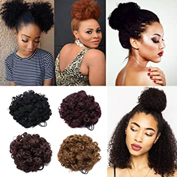 Short Afro Kinky Curly Puff Ponytail Hair Extensions Fluffy Synthetic Drawstring Hair Bun For African American Black Women 1piece Dark Black