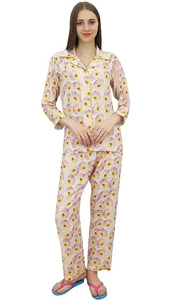 Bimba Camisa de Pantalon de Pijama con Estampado en Blanco Roto para Mujer Conjunto Manga de