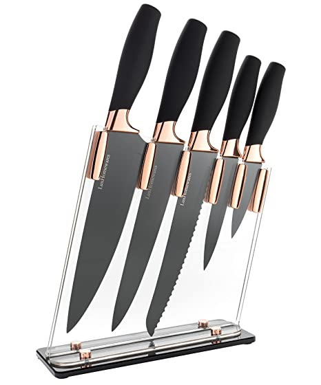 "6 Piece Knife Set | 5 Beautiful Rose Gold Knives with Knife Block | Sharp Kitchen Knife Sets | Multiple Size, All Purpose Kitchen Knives | 8"" Chef, ..."