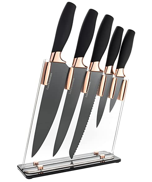Amazon.Com: 6 Piece Knife Set | 5 Beautiful Rose Gold Knives With