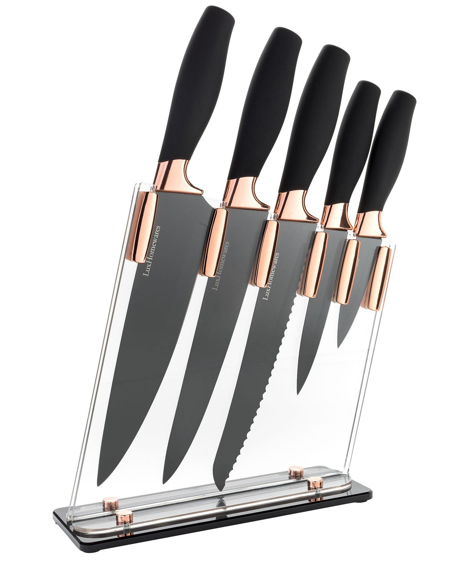 "6 Piece Knife Set | 5 Beautiful Rose Gold Knives with Knife Block | Sharp Kitchen Knife Sets | Multiple Size, All Purpose Kitchen Knives | 8"" Chef, Bread, & Carving Knife 
