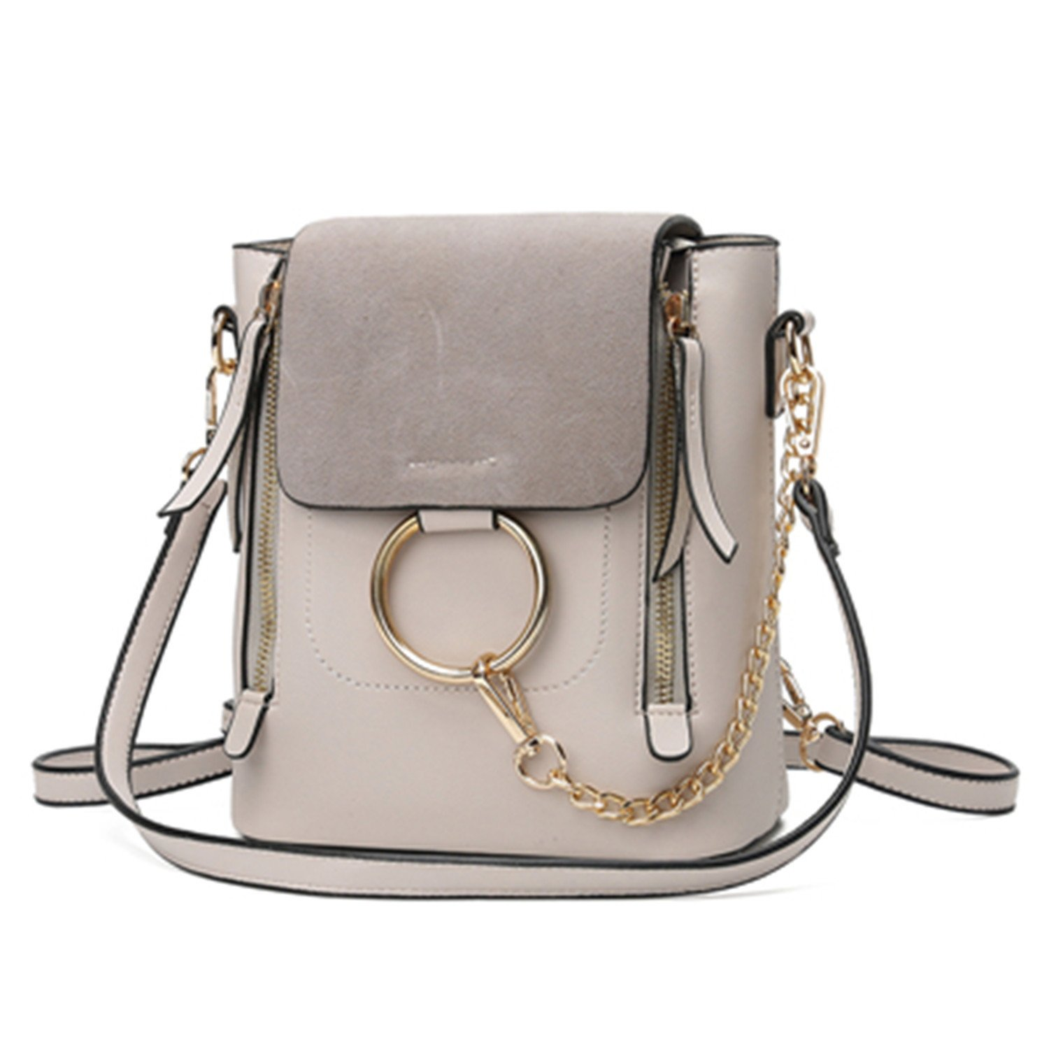 Acereima Metal Ring Shoulder Bag For Women Suede Chain Crossbody Bag Vintage Leather Bags Women Handbags Famous Brands Mochilas Femininas Beige 28cm 12cm ...