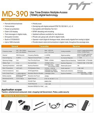 TYT Tytera MD-390 DMR Digital Radio Waterproof Dustproof