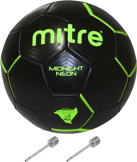 Mitre Midnight neón balón de fútbol (tamaño 3) paquete con dos ...