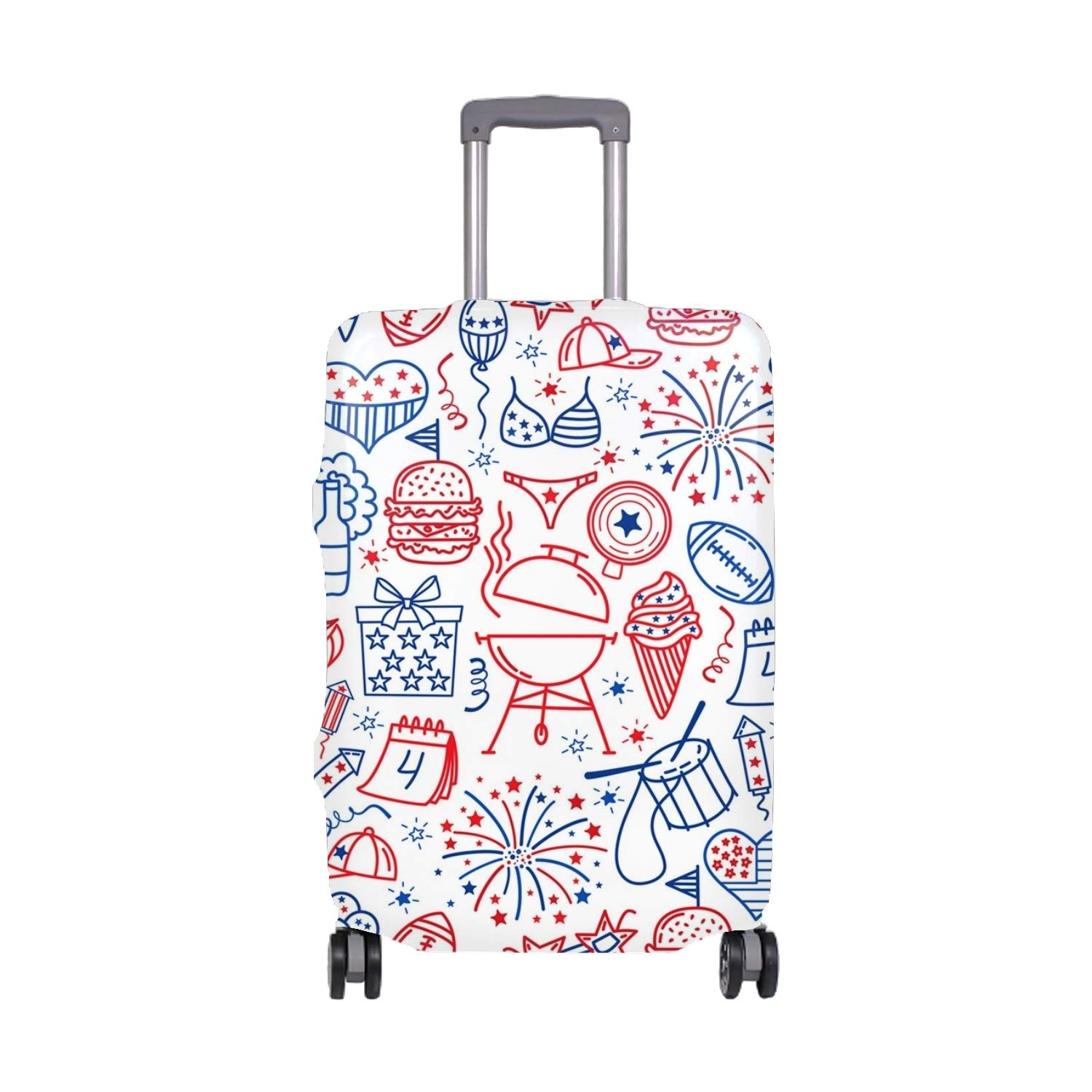 Luggage Cover Protective Red Skull Printing Suitcase Protector Covers with Zipper for Travel