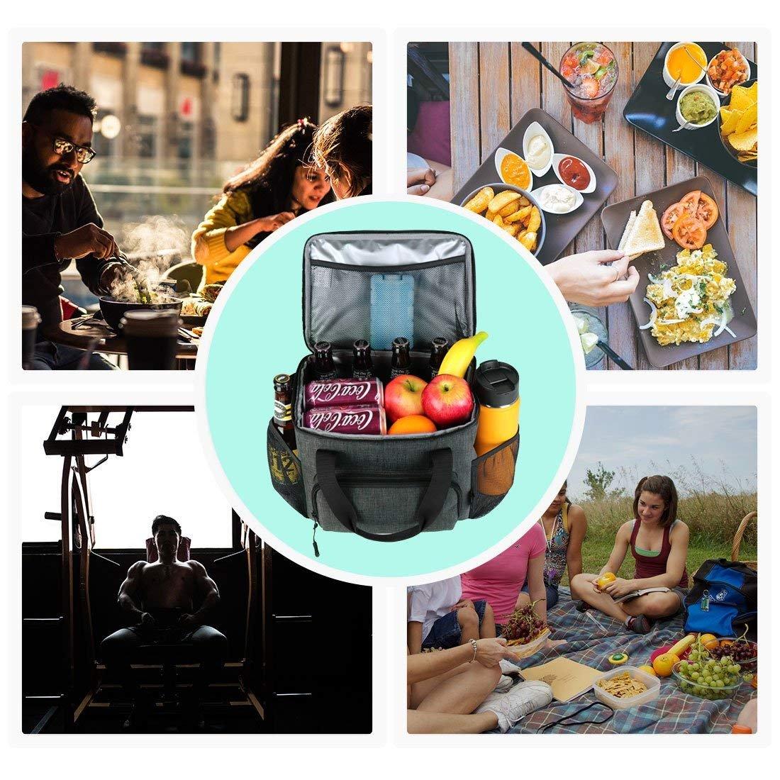 18 Can Large Soft Cooler Tote Bento Bag with YKK Zipper for School Work Office by F40C4TMP Lunch Bag Insulated Lunch Box for Women Men Adults Meal Prep