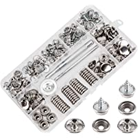 AIEX Set van 150 drukknopen, duurzame roestvrijstalen moeren en bouten, voor meubels, zeildoek, bootafdekking, zilver…