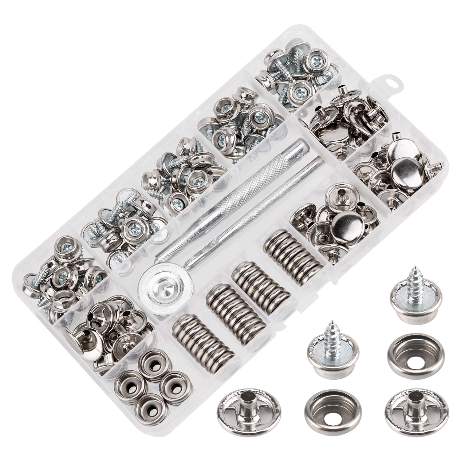AIEX 150 PCS Canvas Snaps Kit, Stainless Steel Fastener Screw Snaps for Furniture Canvas Marine Grade Boat Cover Snap Silver Metal Snap Button Kit with 3 PCS Setting Tool (50 Sets) by AIEX