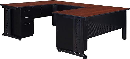 Amazon Com Regency Fusion 66 Inch Double Pedestal U Desk With 48 Inch Bridge Cherry Furniture Decor