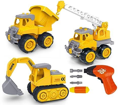 c747cbde7 Amazon.com  HapiSimi Take Apart Construction Vehicle Set of 3