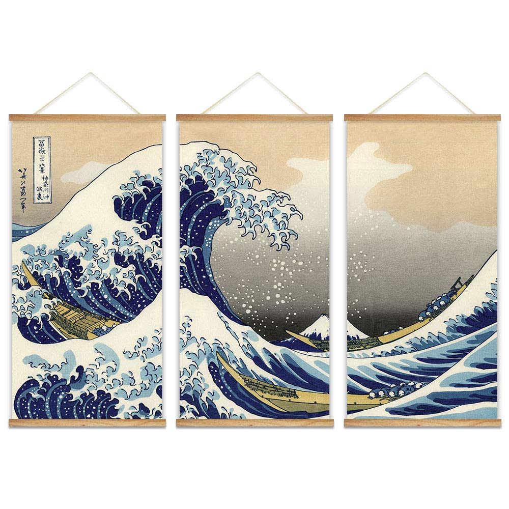 """wall26 - 3 Panel Hanging Poster with Wood Frames - Japanese Traditional Art The Great Wave Off Kanagawa by Hokusai - Ready to Hang Decorative Wall Art - 18""""x36"""" x 3 Panels"""
