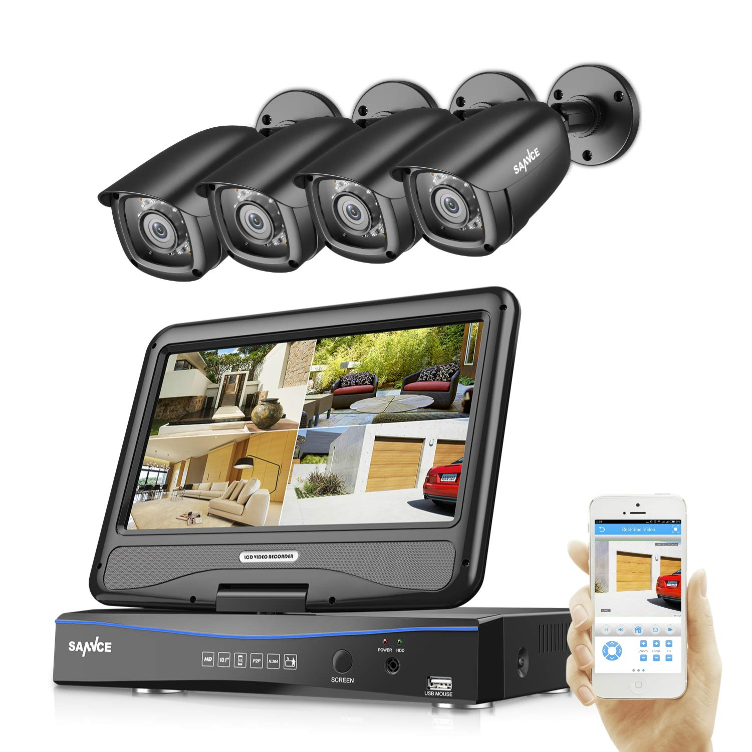 SANNCE 4CH All-in-One 1080P DVR with 10'' LCD Monitor Wired Security Camera System with 4 Weatherproof Indoor Outdoor Day Night Vision Video Surveillance Camera Plug and Play (No Hard Drive) by SANNCE