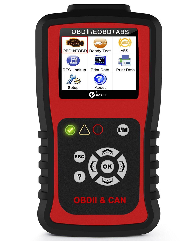 Kzyee KC401 Universal OBD2 Scanner, Enhanced OBD II Car Code Reader/Eraser Supports ABS Diagnostic Scan Tool with TFT color Screen, for Diesel and Gasoline Engine 12V Vehicles