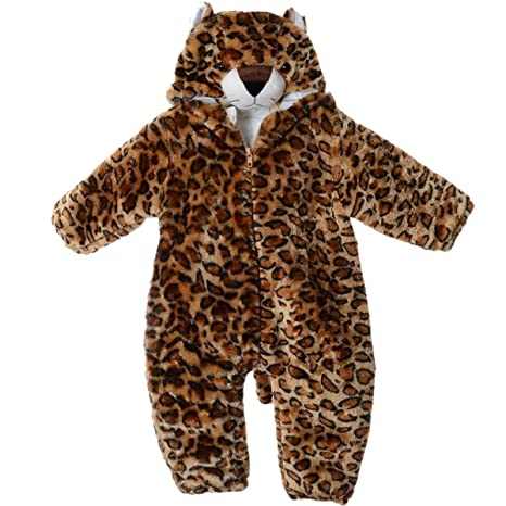 Happy Cherry Unisex Pijama bebé invierno leopardo onepieces franela animal cosplay Pelele (color marrón,