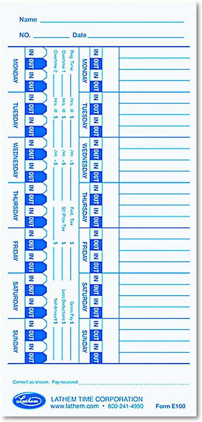Lathem Time Universal Time Card, White, 100 per Pack (E100)