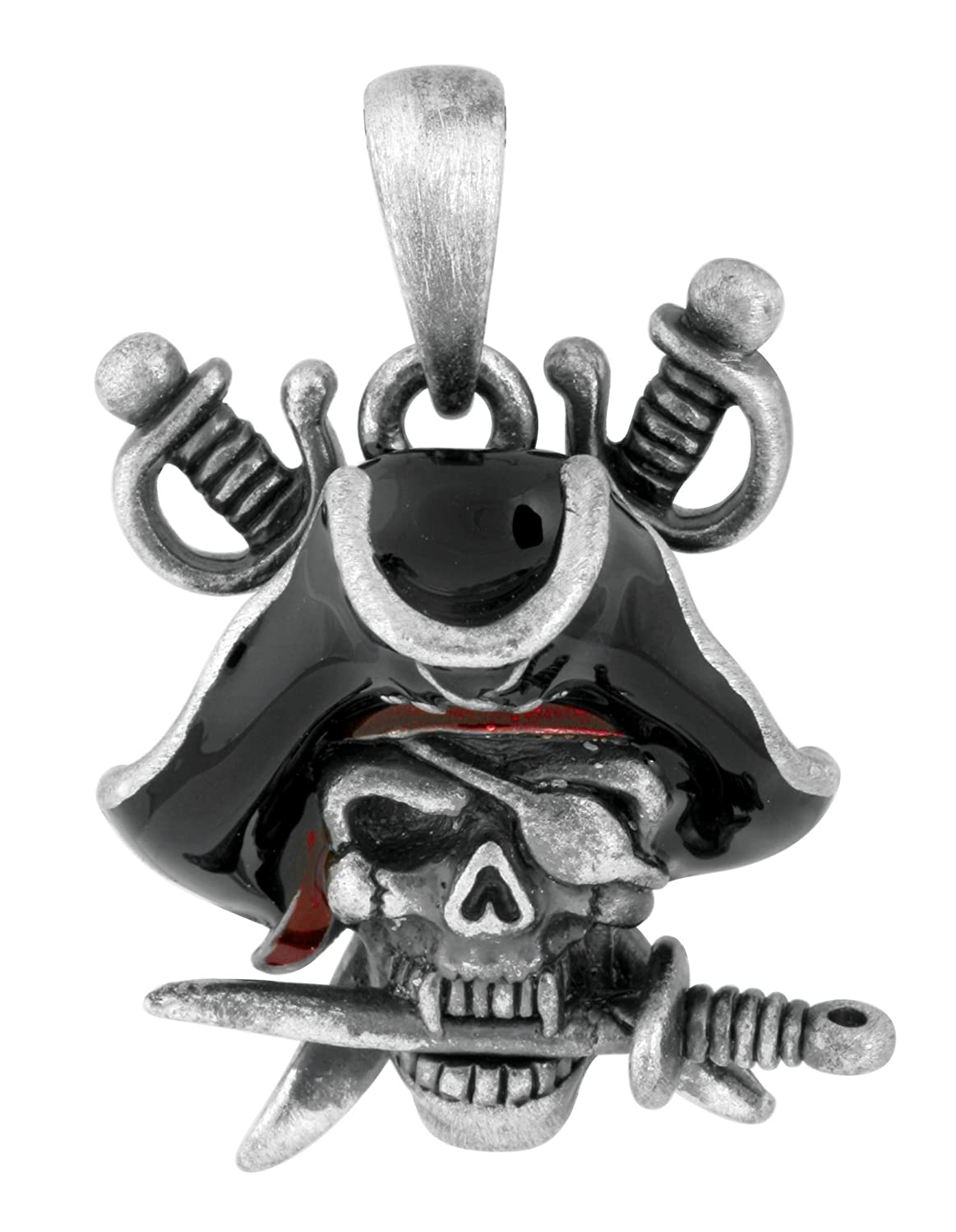 Pewter Davy Jones Pirate Skull Cutlass Pendant
