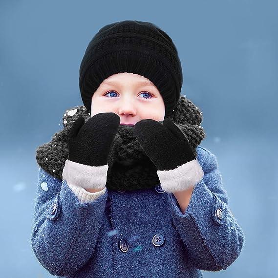 Winter Thicken Fleece Thermal Knit Hat Gloves Set for Kids children Boys Girls Winter Accessories Sets 2 in 1 Warm Beanie Hat Gloves Set for Kids Aged 1-3