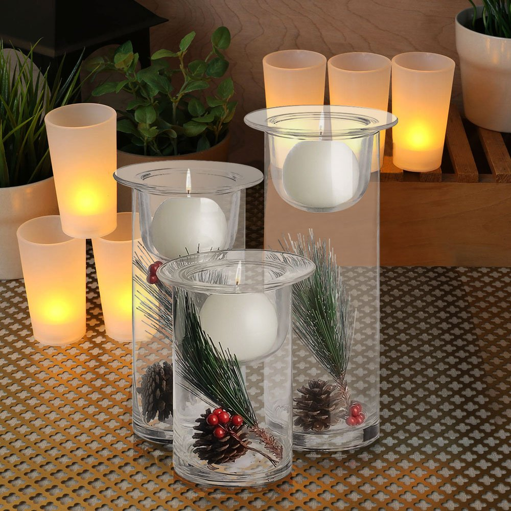 amazon com set of 3 glass hurricane candle holders filled with