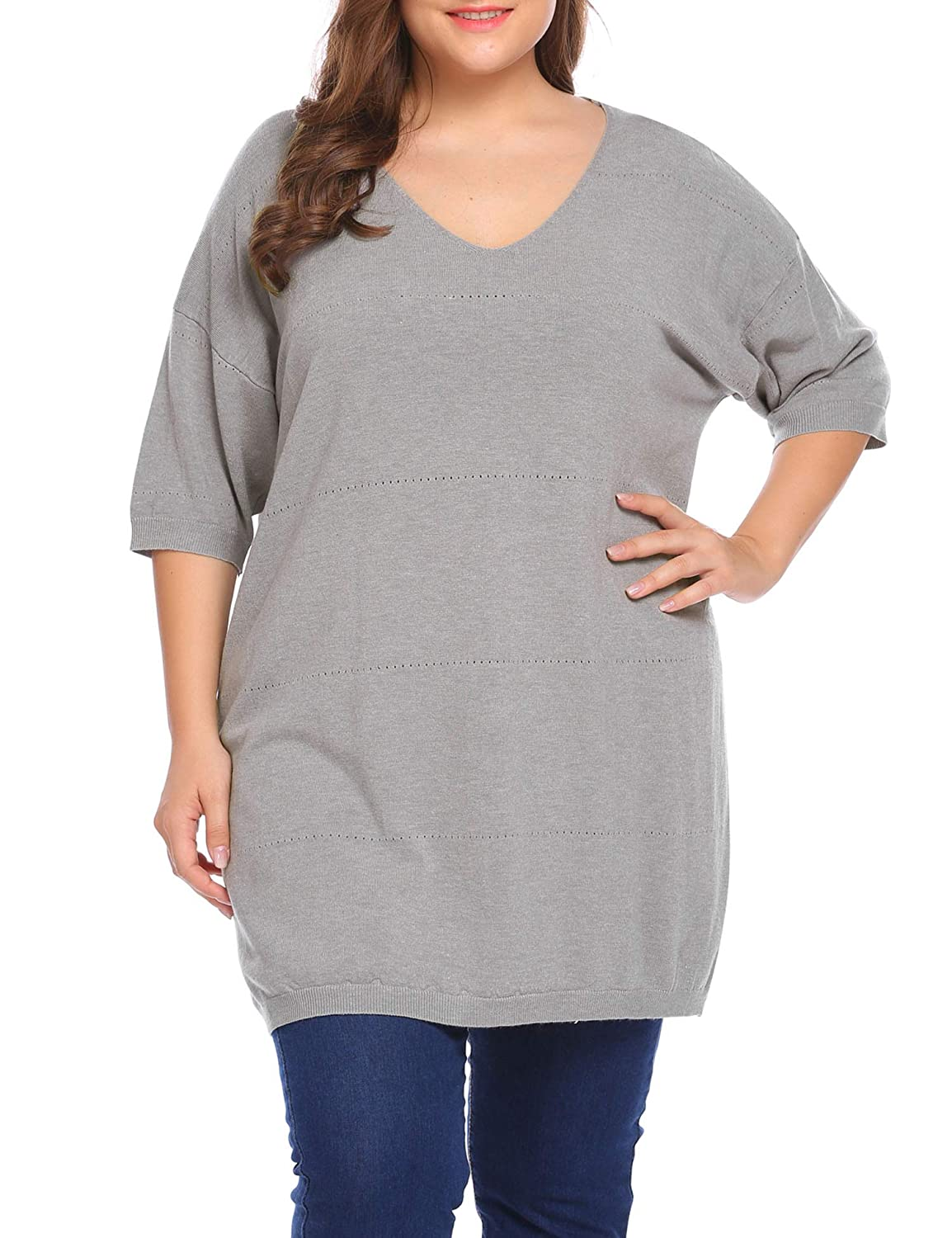 a2d74360c04 Women s Plus size Sweaters Casual V Neck Loose Fit Knit Sweater Lightweight Pullover  Sweater