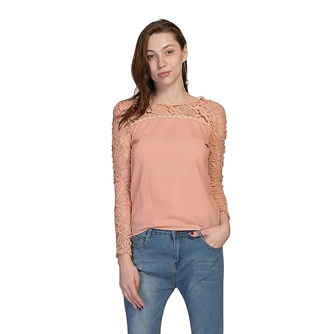 Andy\'s Share, Langarm Häkeln Spitze Chiffon Bluse Shirt: Amazon.de ...