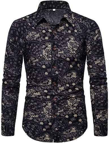 waotier Camisa de Hombre Verano Moda Negocio Casual Slim fit Ocio Estampado Floral Camisa de Manga Larga Blusa Superior: Amazon.es: Ropa y accesorios